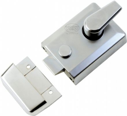 M Marcus York Security NL3060-SC Cylinder Rim Nightlatch 60mm  Satin Chrome